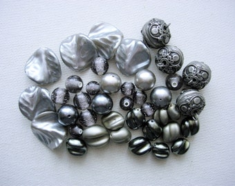 Inspirational Lot of Various Vintage Plastic-Metal Beads-Shades of Gray
