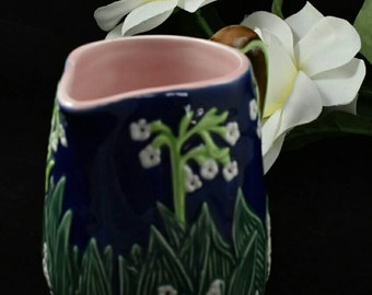 Pitcher Vintage Ceramic Jan Willfred Cobalt Blue Green White Lily of Valley Flower Vase Phillines Pottery Majolica Home Decor Gift