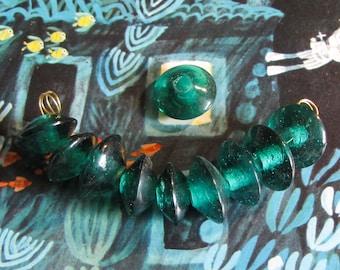 10 pcs glass bead lens transparent green petrol 18 mm