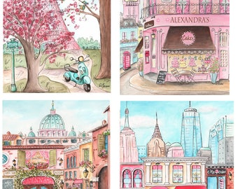 Paris, London, Rome, New York, Fashion City Prints, Personalized, Travel Themed Girl's Bedroom Wall Art, Unframed Fine Art, 6 Sizes, Pink
