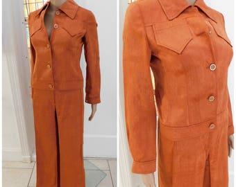 70s Pants Suit , 70s Eres Beverly Hills Pant Suit Faux Suede Bell Bottom, Hippie, Bohemian Pant Suit Cropped Jacket XS S