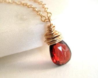 Garnet gemstone necklace red and gold January birthstone pendant necklace Vitrine Under 50