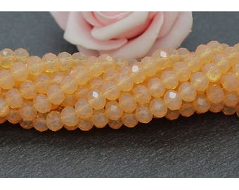 50 beads glass faceted 6 x 4 mm iridescent apricot color PV136