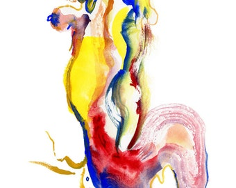 "Original Watercolor, Figure Painting, Abstract Art, Fashion Illustration, 6"" x 6"" - 27"