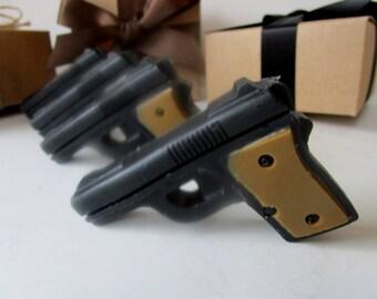 4 GUN SOAP  -  gift for him, valentines for man, gift for him, black and brown mini pistol, gift for boyfriend, stocking stuffer for man