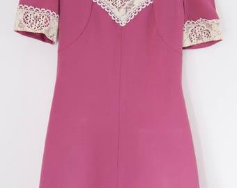 1960s dusky rose pink and lace dress mod dress s Uk 8 10 US  4 6 70s