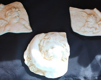 Cherub Wall Plaques/Vintage Cherub Plaques/ Ceramic Cherub Plaques/Cherub Wall Hanging/Angel Wall Plaques/Hen-Feathers & Co/Home and Living