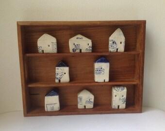 8 miniature ceramic houses in a vintage box, handmade, unique gift, ceramic sculpture,