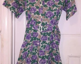 Vintage 1950s Shirt Dress / Tea Dress