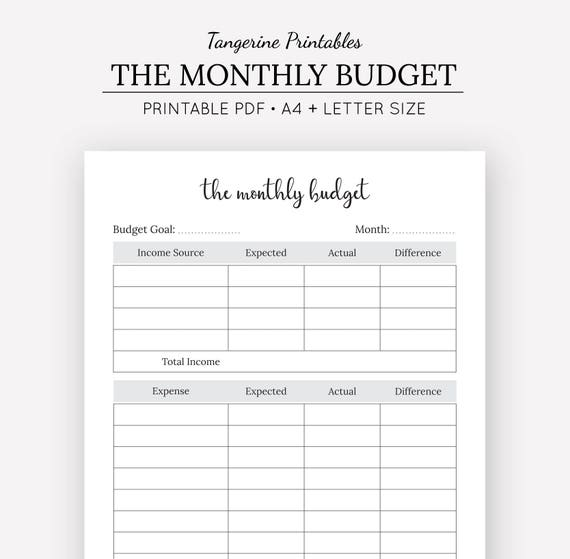 monthly budget tracker a4 size us letter size budget