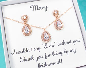 Bridesmaid Gift set, Bridesmaid Earrings, Bridal Jewelry set, rose gold earrings, wedding jewelry, Bridal earrings, bridal party