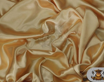 """Satin Charmeuse Solid Fabric GOLD / 60"""" Wide / Sold by the yard"""