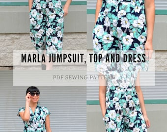 The Marla Jumpsuit, Top and Dress PDF sewing pattern and sewing tutorial for women, including plus sizes