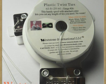 65FT Plastic Twist Tie Spool with Cutter - Clear Oval