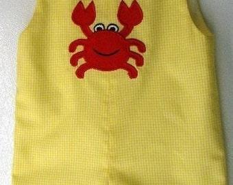 Crab applique Yellow gingham jon jon shortall  sizes 9/12 months