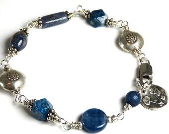 Delta Blues - Kyanite, Sapphire, Jasper Hill Tribe Fine Silver Bracelet
