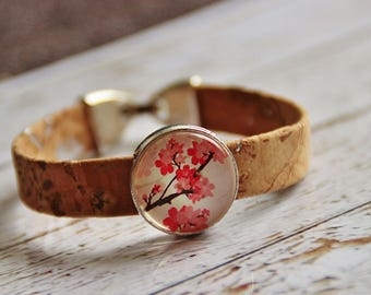 Cork and Flower Bracelet