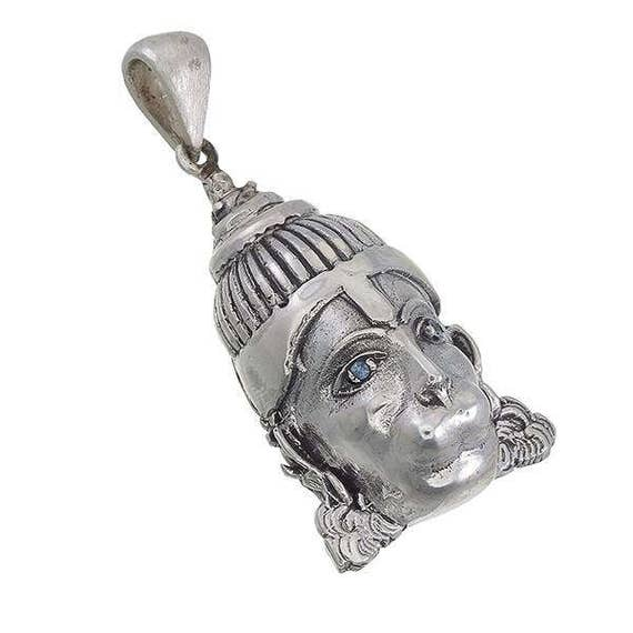 Hanuman pendant in sterling silver with gemstone aquamarine aloadofball Images