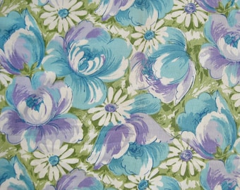 "1970s Vintage Floral Curtains Blue Lilac Green Large Scale Flowers Fabric 2 Panels 35"" Wide x 61"" Long"
