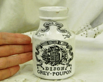Antique French Grey Poupon Moutarde de Dijon Digoin Mustard Jar, Country Cottage Kitchen Decor from France, Traditional Pottery Pot / Crock