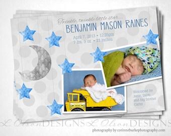 Little Star Baby Announcement - Blue - DIY Printable