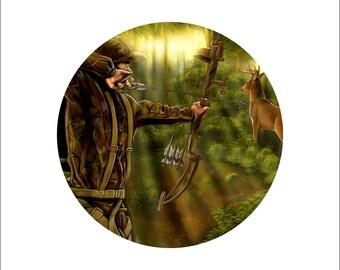 deer bow hunting decal, full color wild deer decal, realistic deer sticker, wildlife laptop sticker, deer hunting vinyl decal