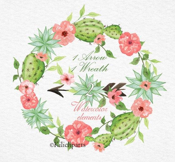 Watercolor Succulent Wreath Watercolor Bouquet Arrow Cactus