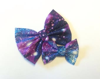 Galaxy Bow | Space Bow | Handmade Fabric Hair Clip | Headband Bows