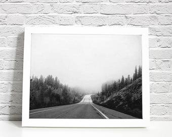 """Country Road Take Me Home Photography Print, Black and White, Digital Print, Nostalgia, Instant Download, 8.5""""X11"""" letter size"""