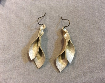 Petal Collection:  pale gold faux leather petal earrings 2 inch