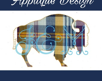 Buffalo Silhouette Blanket Stitch Vintage Style Applique Machine Embroidery Design