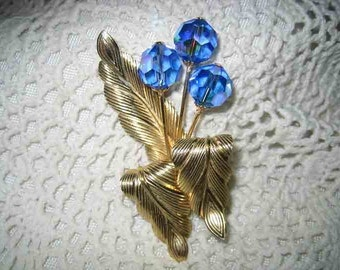 Vintage Electric Blue AB Cut Crystal Flower Brooch