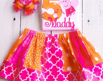 Peppa Pig Birthday Outfit Personalized orange and pink