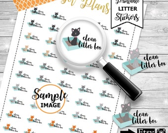 Cat Stickers, Litter Box Planner Stickers, Cats Printable Stickers,  Litter Box Stickers