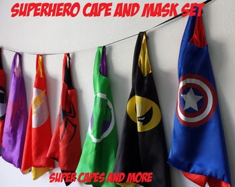SUPER SALE!! Ready to Ship! (1) Superhero Cape or (1) Cape and Mask Set!!!/Party Favors/Costume/Dress Up