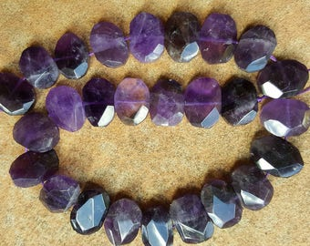 """Natural Amethyst Faceted Oval Beads, 16~21 x 10~17 x 6~8mm - 15.5"""" Strand"""