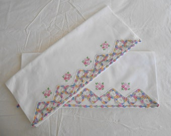 Vintage Lot of 2 Pillowcases Standard Size Crocheted Edged Pillowcases with Embroidered Flowers Cotton Pillowcases Cleaned & Pressed
