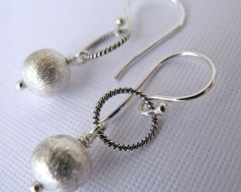 Everyday Silver Earrings - Brushed Sterling Silver, Twisted Sterling Silver Ring