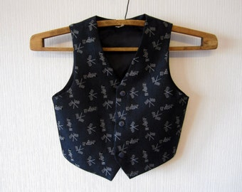 Dark Blue Vest Boys Formal Fitted Steampunk Childrens Waistcoat F1 Racing 336