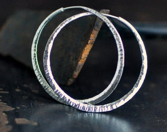 """1 3/4"""" hammered sterling silver hoop earrings, round endless style hoops, wide thick hoops, eco friendly jewelry"""