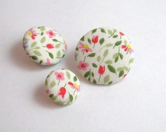 Fabric button flowers 16 mm