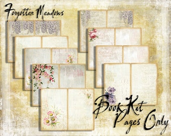 Digital Paper Pack Forgotten Meadows Book Kit PAGES ONLY