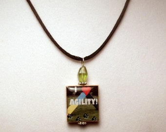DOG AGILITY Jewelry / Scrabble Pendant / Upcycled / Necklace