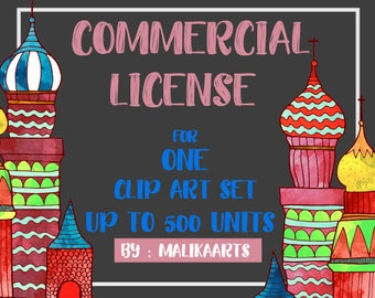 Commercial License / Extended License / Commercial Use Single Product / Clipart / Digital Paper / Digital Print / No Credit Required