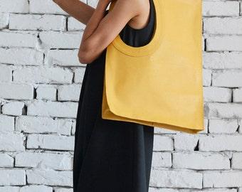Yellow Leather Shoulder Bag/Maxi Bag/Extravagant Large Handbag/Yellow Tote Bag/Square Purse/Genuine Leather Bag/High Quality Tote Large Bag