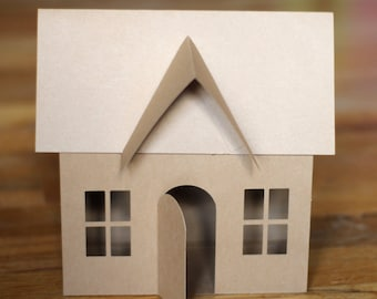 SVG File: Small 3D Paper House for Christmas Village, Luminary, or Paper Gingerbread House