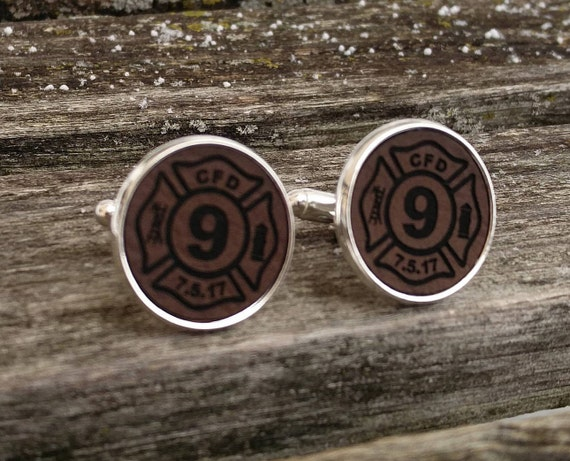 Firefighter Cufflink. Leather, Engraved. Wedding, Groom, Groomsmen Gift, Dad, Anniversary, Birthday, Christmas