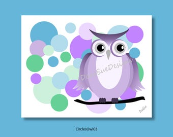 Owl Wall Art Decor for Kids Room or Baby Nursery, Personalized Gift, Print Only (CirclesOwl03)