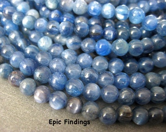 Sale!! Kyanite 4mm Round Smooth Gemstone Beads, Blue Kyanite, 4mm Gemstone Beads, Jewelry Design Craft Supply, Epic Findings
