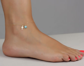 Gold cross anklet / Evil eye ankle bracelet / Blue evil eye bracelet / Evil eye and cross / Cross ankle bracelet / Evil eye Jewelry | Bendis